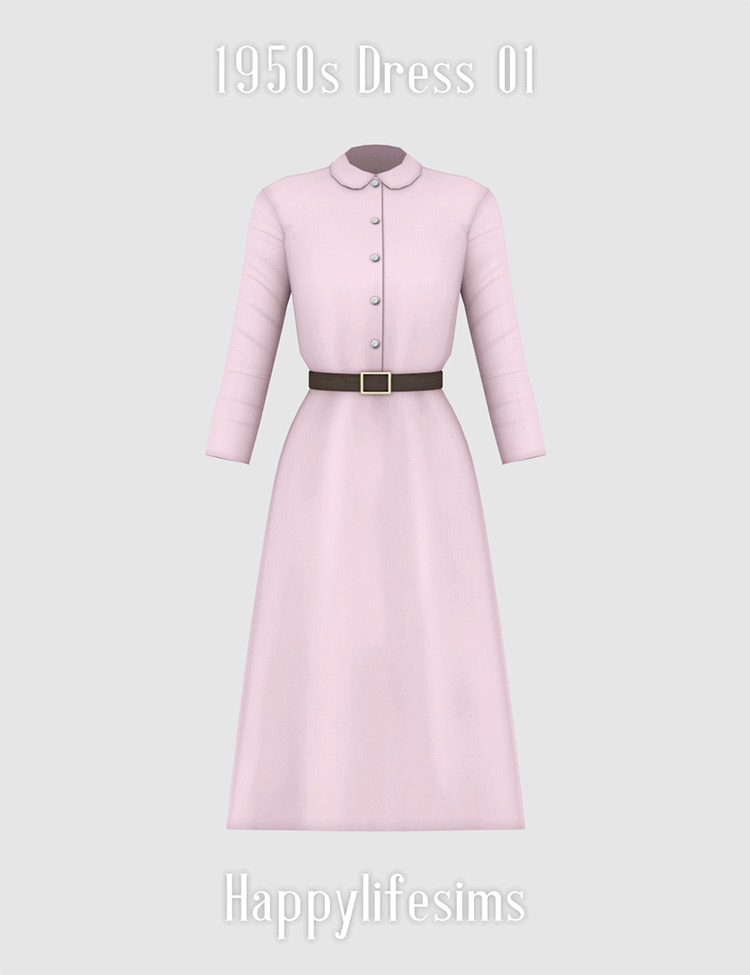 1950s Dress Sims 4 CC screenshot