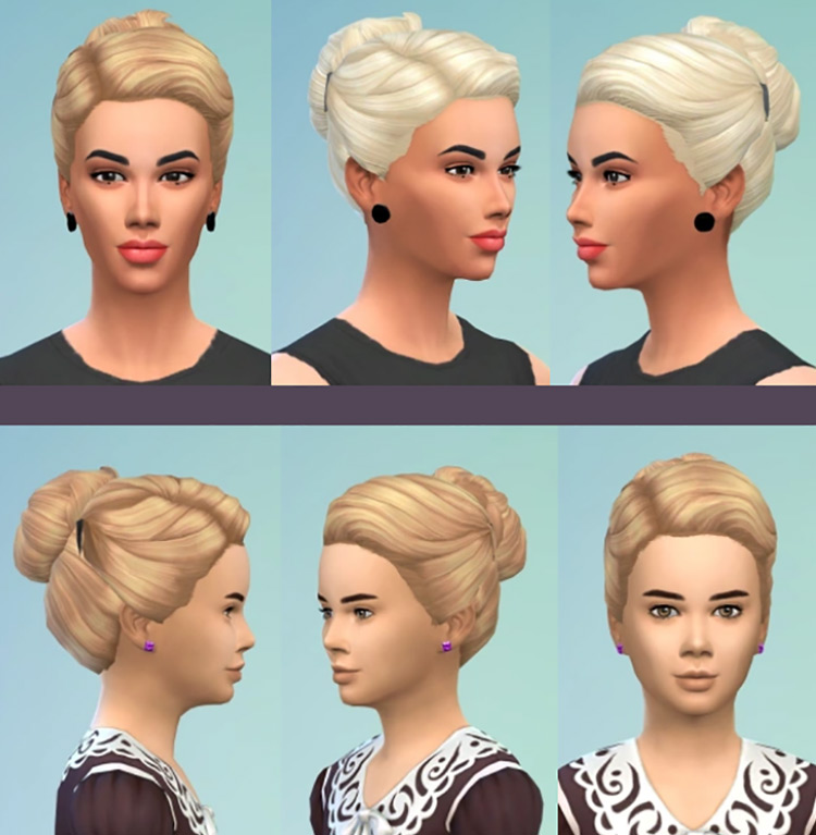 Lady and Girl's Bun for Sims 4