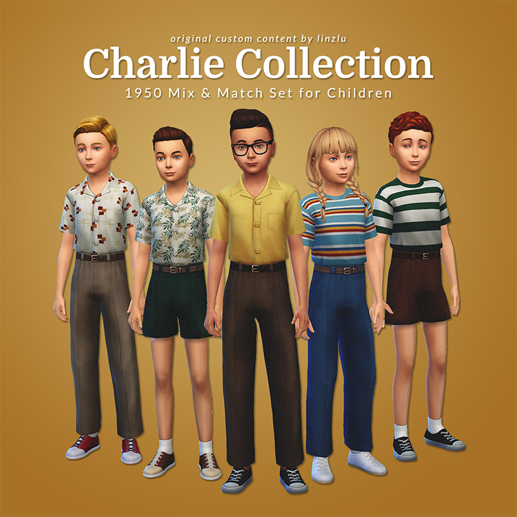 Charlie Collection - '50s Mix & Match Set For Children TS4 CC