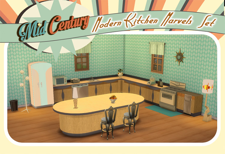 Mid Century Modern Kitchen Marvels Set TS4 CC