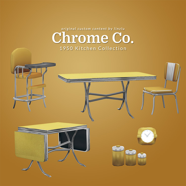 Chrome Co. 1950 Kitchen Collection for Sims 4