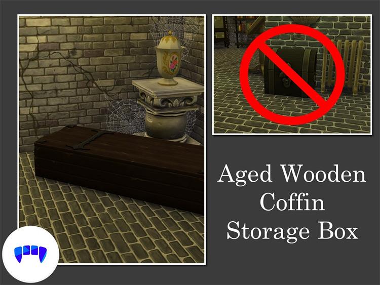 Aged Wooden Coffin Storage Box Sims 4 CC