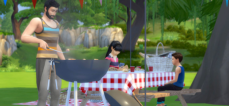 Sims 4 grilling picnic CC screenshot
