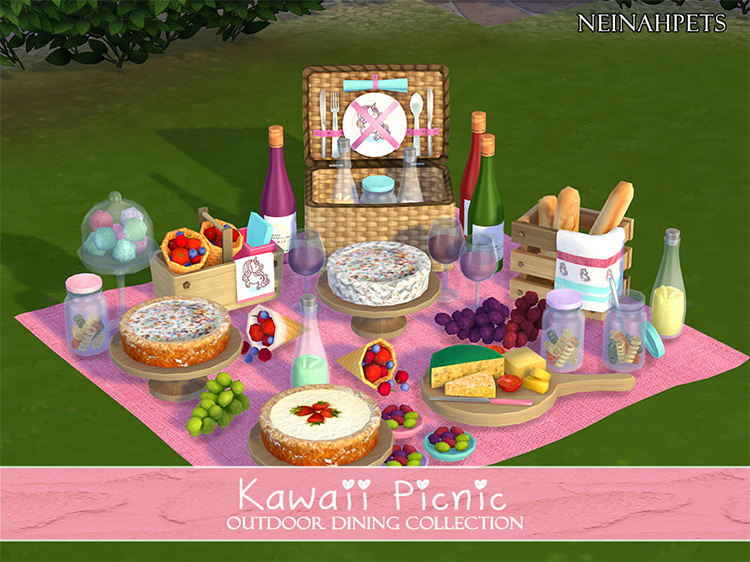 Kawaii Picnic Outdoor Dining Collection for Sims 4