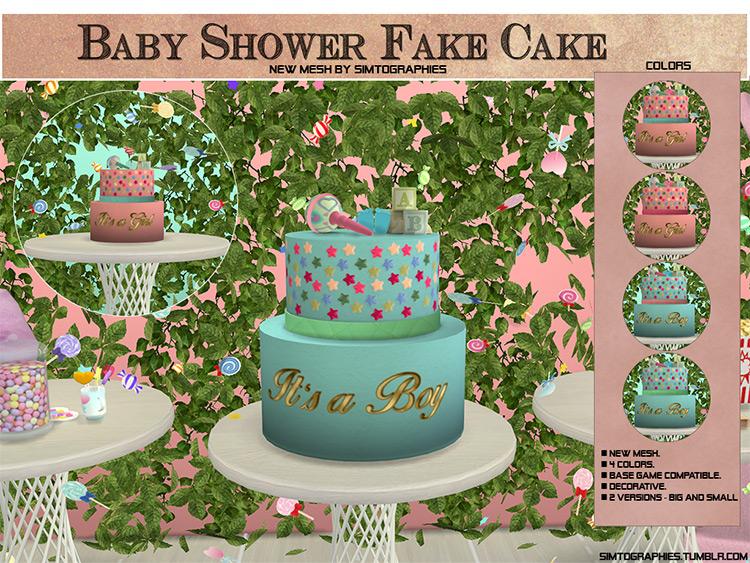 Baby Shower Fake Cake Sims 4 CC