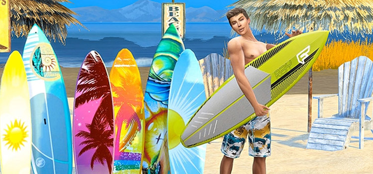 Surfer Guy with Surfboards in The Sims 4