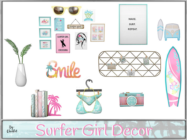 Surfer Girl Decorations Sims 4 CC