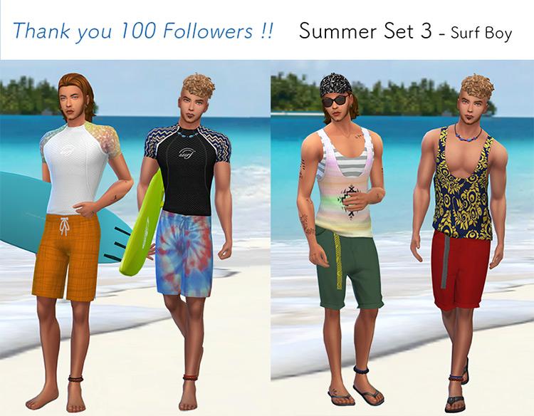 Summer Set 3 - Surf Boy Sims 4 CC