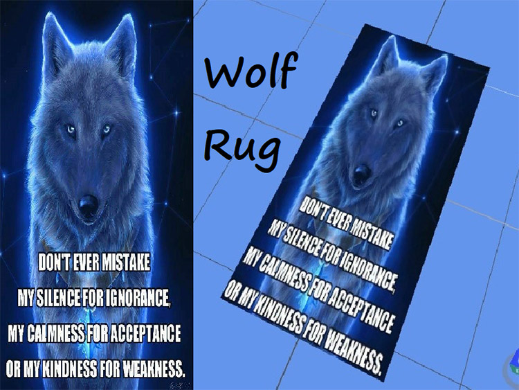 Custom Wolf Face Rug in The Sims 4