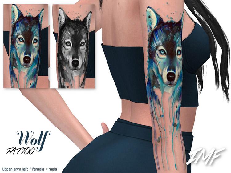 Wolf Tattoo on Arm / Sims 4 CC