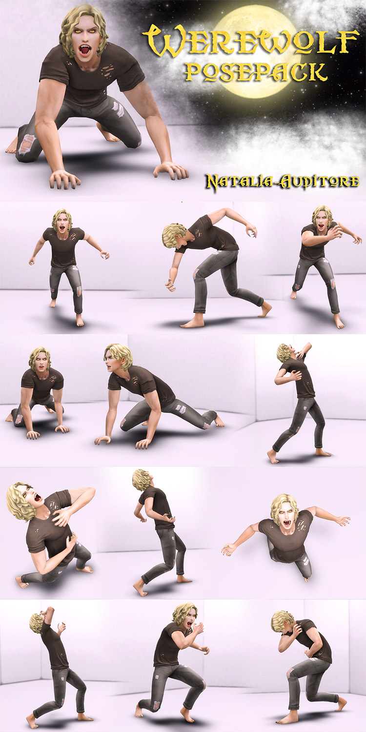Werewolf Pose Pack for The Sims 4