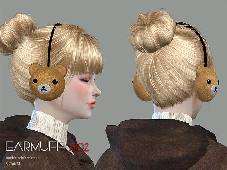 Bear shaped earmuffs CC for The Sims 4