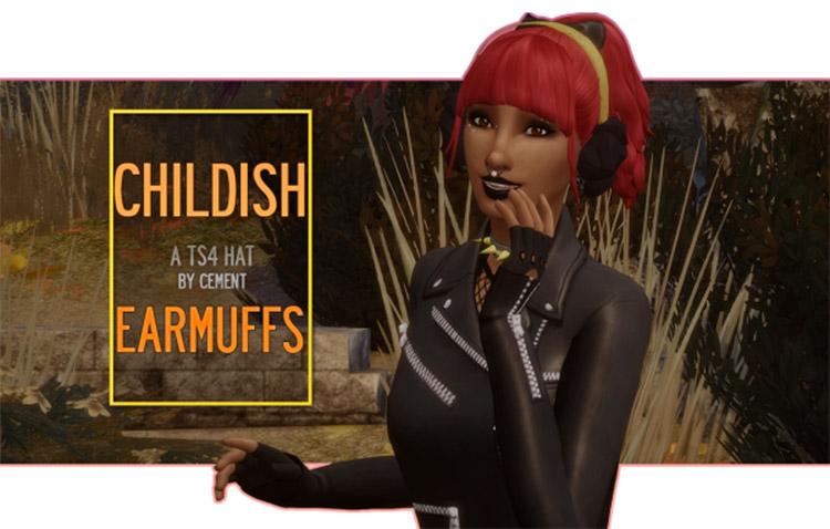 Childish earmuffs CC for The Sims 4