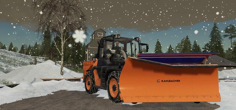 Orange Snow Plow Mod for FS19