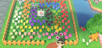 Colorful rainbow fenced garden in New Horizons