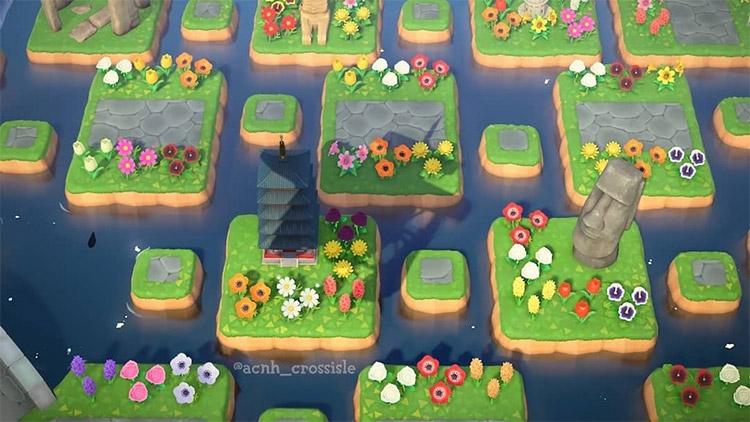 Floating island flowerbed idea in ACNH