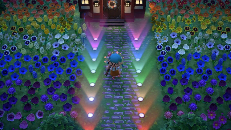 Rainbow garden at night in ACNH