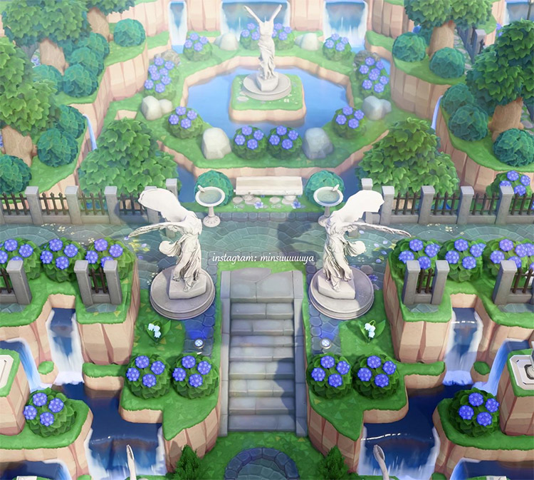 Waterfall area with garden island entrance / ACNH Idea