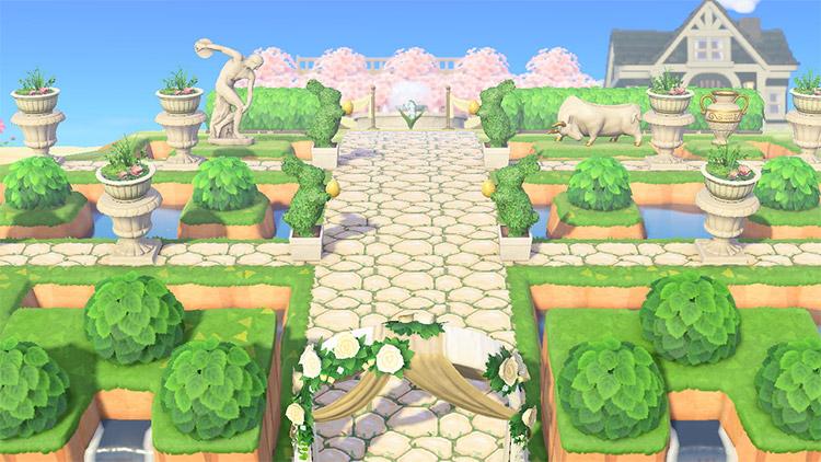 Wedding area with custom garden in ACNH