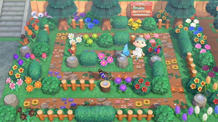 Butterfly garden maze idea in ACNH