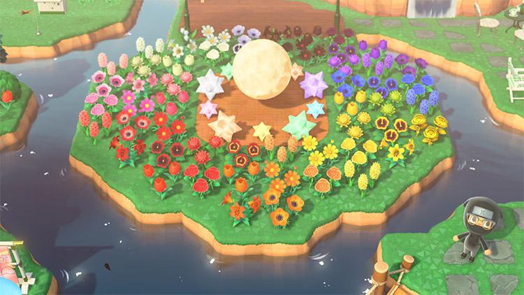 Moon-themed rainbow flower island in ACNH