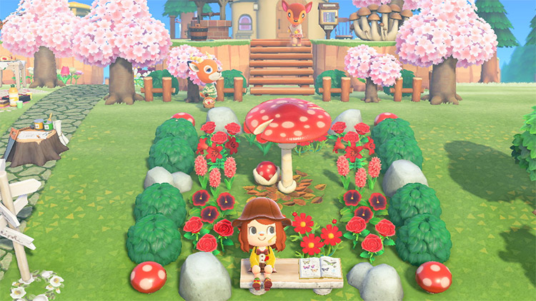 Red mushroom garden rest area in ACNH