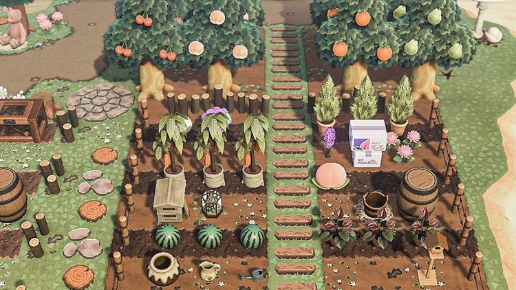 Custom garden with fruit & veggies in ACNH