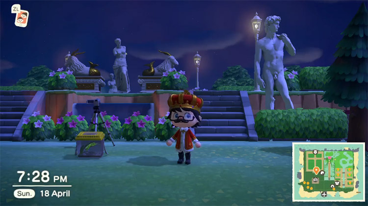 Garden with statue in ACNH at night