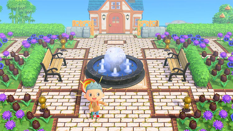 Bright violet garden with fountain in ACNH