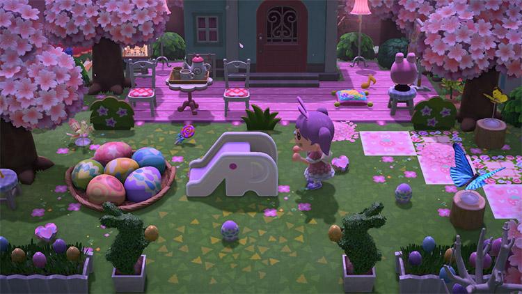 Nighttime pink garden design in ACNH