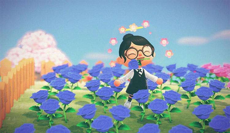 Bright blue flower field in ACNH