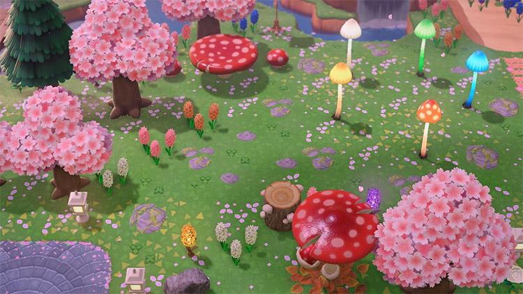Magical enchanted mushroom garden in ACNH