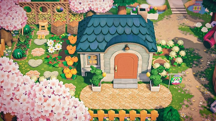 Melon patch in villager's backyard in ACNH