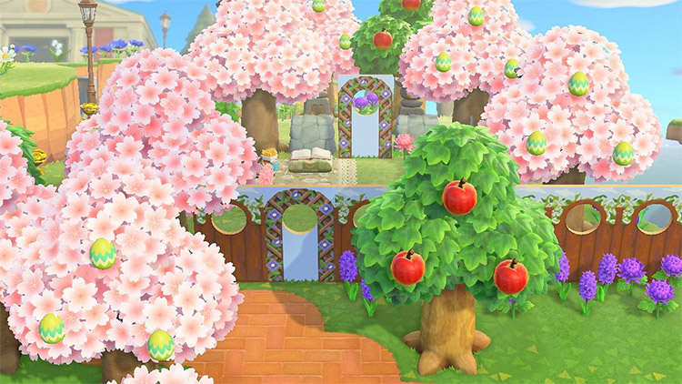 Custom garden with standees in ACNH