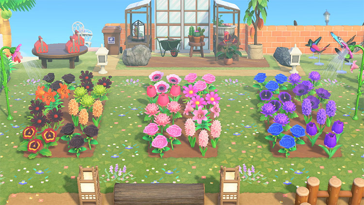 Simple flower garden with a greenhouse in ACNH