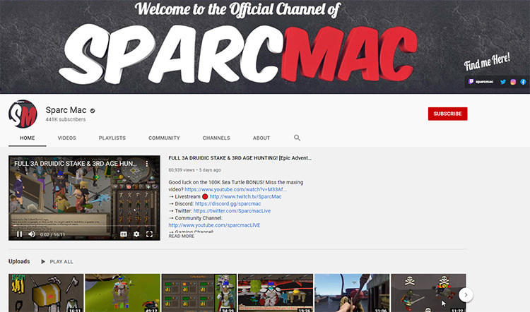 Sparc Mac YouTube Channel Screenshot