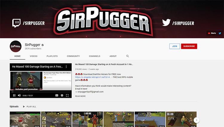 Sir Pugger YouTube Channel Screenshot
