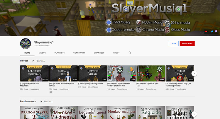 Slayermusiq1 OSRS YouTube Channel Screenshot