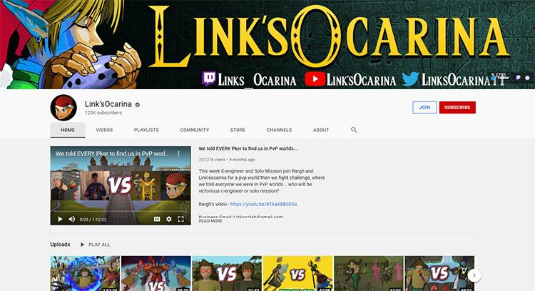 LinksOcarina YouTube Channel Screenshot