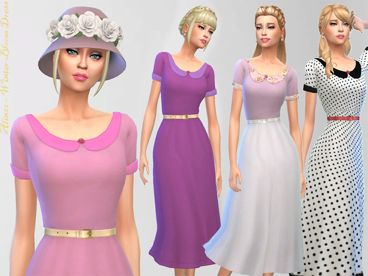 Winter Bloom Dress for The Sims 4