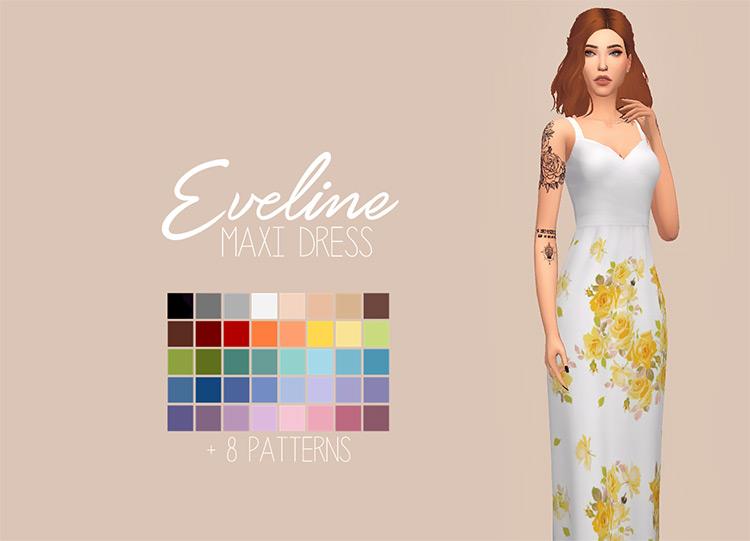 Eveline Maxi Dress / Sims 4 CC