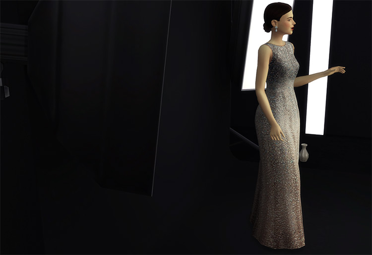 Sequined Silk Gown / TS4 CC