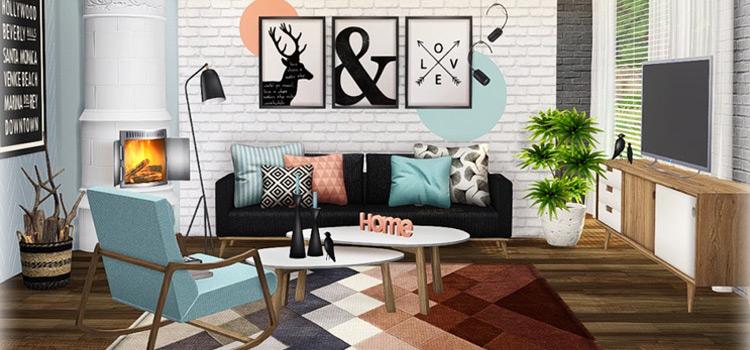 Scandifever Living Room Design Set for The Sims 4
