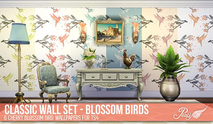 Classic Wall Set – Cherry Blossom Birds / Sims 4 CC
