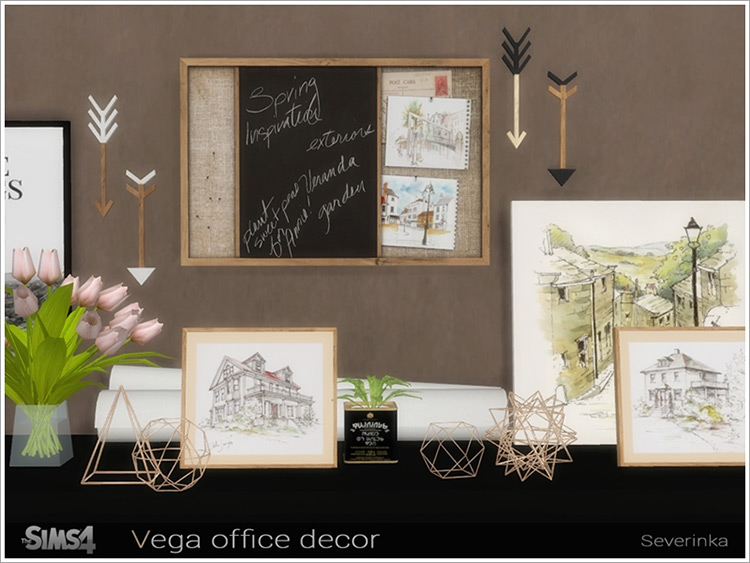Vega Office Décor Scandinavian CC for The Sims 4