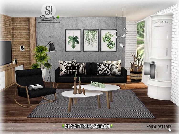 ScandiFever Living Room Set / Sims 4 CC