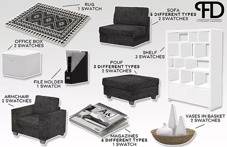 Amura Living Room Scandinavian-Themed TS4 CC