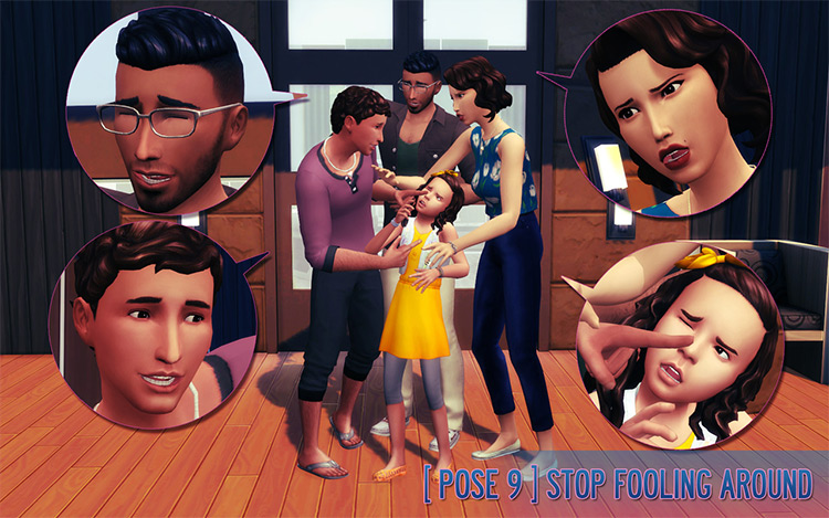 Happy Household Family Posepack / Sims 4 CC