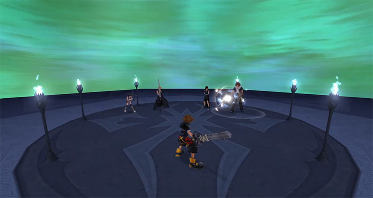 Cloud, Yuffie, Leon, and Tifa Fight in KH2