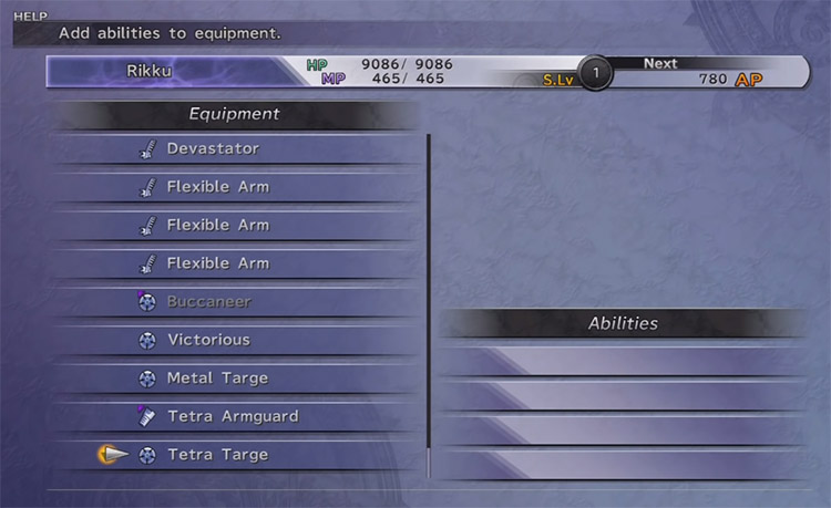 Empty Equipment for Customizing in FFX HD